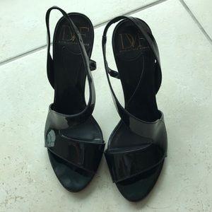 DVF black patent heels
